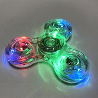 Wholesale 2017 NEW Transparent Crystal LED Fidget Hand Tri Spinner Relief Fingertip Gyro EDC Kids Adult Toys