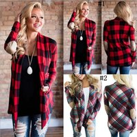 Women Autumn Plaids Controlla Cardigan Manica Lunga Irregular Giacca Top Top Patchwork Plaid Outwear 2 Stili OOA3234