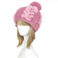 Womens Stylish Rabbit Pelz getrimmt Strick Pom Pom Winter Hut Ski Ohr Muffs Wärmer Hut A020