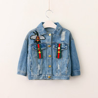 Wholesale Baby Outwear Clothing - Autumn 2017 Girls Denim Jackets Kids Girls Embroidery Bee Outwear Baby Girls Fashion Hallow Out Jacket Childrens clothing