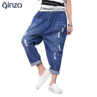 Wholesale Cropped Drop Crotch - Wholesale- Women's casual loose elastic waist holes ripped jeans Denim drop crotch cross harem crop pants Capri