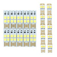 Atacado 10PCS / Lot Portable Mini USB Light Power 2 LED / 4 LEDs Night Light 5050 Chips LED Lamp White Light para Power Bank Computer Laptop