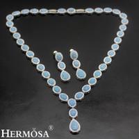 "Wholesale Blue Silver Gemstone Earrings - Wedding Gifts Necklace Earrings 925 Sterling Silver Natural Gemstone Origin Blue Agate Women Ladies Jewelry Sets 17""INCH"