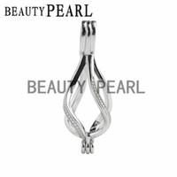 Wholesale Helix Design - 5 Pieces Helix Twist Design Locket Cage Pendant Love Wish Pearl 925 Sterling Silver Drop Pendant