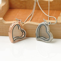 Wholesale Wholesale State Shaped Necklaces - Foreign trade jewelry Europe and the United States selling fashion can open heart-shaped glass frame alloy necklace S131