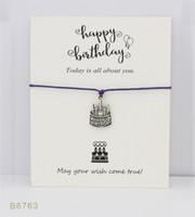 Wholesale Happy Birthday Bracelet - Wish Bracelet With Gift Card Happy Birthday Charm Bracelets Bangles Gifts For Women Girls Adjustable Friendship Statement Jewelry
