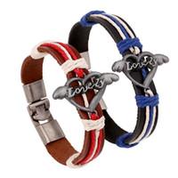 Wholesale Leather Slap Bands - New arrival LOVE alloy leather wrist band couple bracelet FB449 mix order 20 pieces a lot Slap & Snap Bracelets