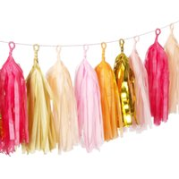 Wholesale Tissue Paper Garland Wholesale - Nicro 25pcs 14'' Tissue Paper Tassel DIY Party Garland Tassel Paper for Wedding Party Birthday Kids Decoration 19 Color 5Pcs Bag Wholesale