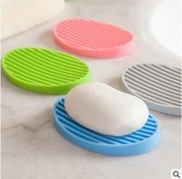 Wholesale Toilet Soap Wholesalers - Silicone Flexible Toilet Soap Holder Plate Hollow Design Non Residue with Water Bathroom Soapbox Anti Slip Soap Dish Holder