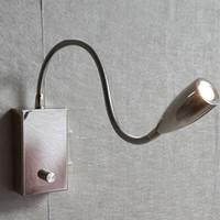 atenuador de pared 12v al por mayor-Topoch Swing Arm Lámpara de pared Knob Dimmer 15% -100% Brillo Flexible Aluminum Arm Cromo Acabado Bright Comfortable LED CREE 3W 200LM