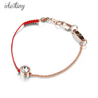 Wholesale Thin Bracelets Crystal - thin red and black cord thread string rope line bracelet with crystals from Swarovski gold plated chain women gift