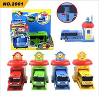Wholesale 4pcs set Scale model tayo the little bus children miniature bus plastic baby oyuncak garage tayo bus kids toys Christmas gift
