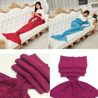 Wholesale Crochet Animal Cocoon - Crochet Mermaid 14 Colors Adult and KidsTail Blankets Sleeping Bags Costume Cocoon Mattress Knit Sofa Blankets Living Room DHL Free OTH317