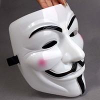 máscara de fawkes de chico adulto al por mayor-Máscaras de fiesta V para Vendetta Máscaras Anónimo Guy Fawkes Disfraz Disfraz de adulto Accesorio Máscara de plástico Cosplay