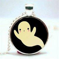 Wholesale Wholesale Kawaii Necklace - 10pcs lot Ghost Necklace, Kawaii Halloween Jewelry, Cute Spooky Pendant glass cabochon dome pendant necklace 3628
