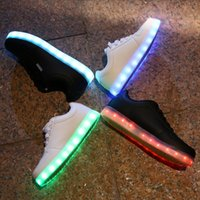 Wholesale Led Black Leather Band - slip on LED luminous shoes unisex sneakers men & women sneakers USB charging light shoes colorful glowing leisure flat shoes VAN