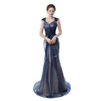navy sexy bild großhandel-Real Pictures Navy Blue Mermaid Abendkleider 2020 Grau Farbe Vintage Party Kleider Prom Kleider Freies Verschiffen