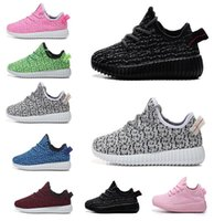 Wholesale Purple Polka Dot Shoes - 2017 New Kids Kanye West 350 Boost Children Athletic Shoes Girls Casual Shoes Baby Training Sneakers Breathable soft-soled Infant Baby