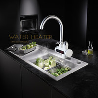Wholesale Heater Deck - Wholesale- RU Electric Hot Faucet Water Heater Electric Water Heating Tankless Kitchen Faucet Digital Display Instant Water Tap Deck Mount