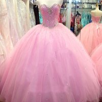 Wholesale Exquisite Quinceanera Dresses - Modest 2017 Pink Sweetheart Crystal Beaded Tulle Ball Gown Quinceanera Dresses Exquisite Lace Up Back Sweet 16 Masquerade Gown EF70818