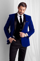 Wholesale New Corduroy Wear - New Style Royal Blue Velvet Wedding Groomsmen Suits for Groom Wear Three Piece Shawl Lapel One Button Custom Made Mens Suits