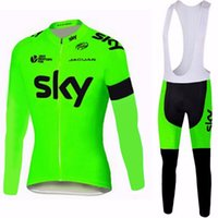 Wholesale Sky Cycling Jersey Long - SKY Fluor Pro Long Sleeve Cycling Jersey Ropa Ciclismo Breathable Racing Bicycle Cycling Clothing MTB Bike Clothes E0604