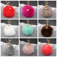 Wholesale key chain ball for sale - Group buy 8cm Faux Rabbit Fur Ball Keychain Plush Car Key Chain Handbag Key Ring Pendant Colors OOA2581