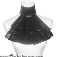 Wholesale Male Fetish Collar - Black Sexy Latex Jabot Fetish Rubber Collar For Cosplay Accessories Bondage Plus Size Female and Male