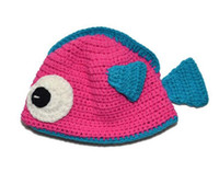 Wholesale Bot Girls - fish handmade cotton bot knitted hats yarn crochet rose hats girls with multi color 10pcs lot for new born 0-3T