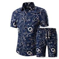 robe beige taille plus achat en gros de-Hommes Chemises + Shorts Ensemble New Summer Casual Imprimé Hawaiian Shirt Homme Court Impression Mâle Robe Costume Ensembles Plus La Taille