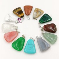 Wholesale Silver Emerald Pendants - New Arrival 22x17mm Trapezoid Shape Semi-Precious Natural Stone Beads Pendant Charm For Necklace Making Jewelry Accessory free shipping