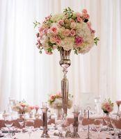 Wholesale Flower Bowl Vases Wholesale - Wedding decorative gold metal vase centerpieces trumpet flower vase with large bowl LLFA