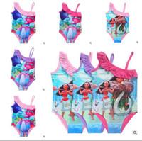 Wholesale Childrens Bikini Swimwear - Moana Trolls Girls Swimwear 2017 Trolls Print Swimsuit One-Piece 11Styles Children Summer Bikini Beach Swim Clothing Pool Childrens Clothin