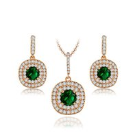 Wholesale Crystal Necklace Jewelry Kits - Luxury Jewelry Set 18K Rose Gold Plated Pendant Necklace Earring Studs Kit with Olivine Green Round Crystals For Women New Arrival