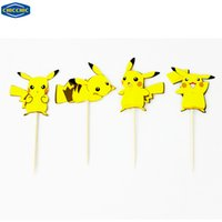 Оптово [CHICCHIC] Pocket Monster Пикачу 24pcs Набор Cupcake Toppers торт украшение Берет с зубочистками свободной перевозкой груза QH0022