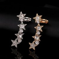 Wholesale gold statement fashion cuffs resale online - ZLDYOU New Fashion Left Star Rhinestone Statement Crystal Leaf Ear Cuff Women Gifts Earcuffs Party Jewelry Clip Earring