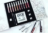 Wholesale White Cream Eyeliner - 2017 New kylie holiday edition makeup set kylie cosmetics lipsticks+1 set eyeliner+kyshadow+eye cream big box hot sale best christmas gift