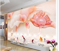 Wholesale Lotus Paper Wallpaper - Magnificent jade carved lotus background wall mural 3d wallpaper 3d wall papers for tv backdrop
