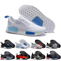 "Wholesale Soccer Football Boots Brand - 2017 Wholesale NMD Runner R1 W 2016 ""Blue Glow"" Running Shoes Mens Women's Athletic sneaker Runners Shoe Cheap Brand Boost White With Box"