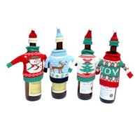 Wholesale cute snowman plush - Festive Plush Cute snowmen Wine Bottle Cover Bag Banquet Christmas Dinner Party Xmas Table Decor new years supplies free shipping HY1275