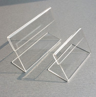 Wholesale Stand Holder Table - Various Smaller Size T1.2mm Clear Acrylic Plastic Sign Display Paper Label Card Price Tag Holder L Shaped Stand Horizontal On Table 50pcs