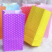 Wholesale Polka Dot Paper Treat Bag - Wholesale- promotion Favor Bag birthday Stand up Colorful Polka Dots Paper Bags 18x9x6cm Favor Bag Open Top Gift Packing Bags Treat 100pcs