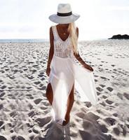 Wholesale Robe Blouse - New 2017 Boho Style Women Summer Dress Chiffon stitching Beach Dresses Robe Fashion deep V tassels Sleeveless Lace Bikini blouse