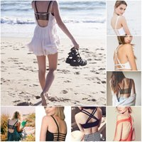 Frauen Bustier Crop Top BH Sexy Spitze Sling Schmetterling Bogen Baumwolle Hollow Back Shirt Padded BH Strand Wrap Weste Brust BH Cropped Tops