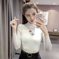 Wholesale Tight Black Turtleneck - New Knitted Turtleneck Fashion Women Sweater Autumn Rose Embroidery High Stretch Tight Slim Striped Pullover Long Sleeve Sweaters fs1907