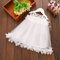 Wholesale Girl Chiffon Dress Kids Wear - Toddler Girl Baptism Dress Christmas Costume Petals 2017 Baby Girl Dress 1 Year Birthday Gift Kids Party Wear Tulle Dresses For Girls MSG018