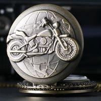 Wholesale Motorcycle Retro - Wholesale- Retro Bronze Motorcycle Harley Motorbike MOTO Quartz Pocket Watch Necklace Pendant Mens Gift