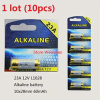 Wholesale 12v 23a battery - 10pcs 1 lot 23A 12V 23A12V 12V23A L1028 dry alkaline battery 12 Volt Batteries card Free Shipping