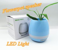 Wholesale Mp3 Lighting - NEW!Creatives Touch Wireless Bluetooth Flowerpot Mini Subwoofer Speaker with LED Light Home Smart Plant Office Mp3 Music Player Pot