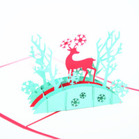 Wholesale Envelopes For Greeting Cards - 3d greeting cards christmas pop up card elk christmas cards for greeting bessing card pop up card with envelope